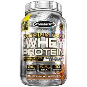 MuscleTech Premium Gold 100 Whey Protein Powder Ultra Fast Absorbing Whey Peptides Whey Protein Isolate Double Rich Chocolate 223lbs free offer may differ 0 300x300 - MuscleTech Premium Gold 100% Whey
