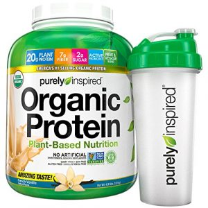 Purely Inspired Organic Protein Shake Powder Shaker Bottle 100 Plant Based with Pea Brown Rice Protein Non GMO Gluten Free Vegan Friendly French Vanilla 4lbs 0 300x300 - Purely Inspired Organic Protein
