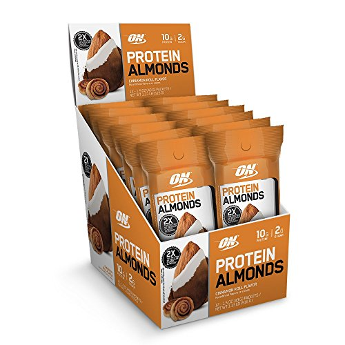 Optimum Nutrition Protein Almonds Snacks On The Go Nutrition Flavor Cinnamon Roll Low Sugar Made with Whey Protein Isolate 12 Count 0 - Optimum Protein Almonds <span>12 Pack</span>