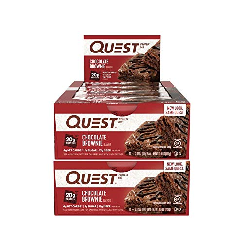Quest Nutrition Protein Bar Chocolate Brownie Low Carb Meal Replacement Bar w 20 g Protein High Fiber Soy Free Gluten Free 24 Count 0 - Quest Protein Bars <span>24 Pack</span>