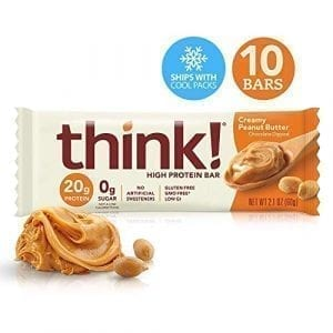 Think thinkThin High Protein Bars Creamy Peanut Butter 20g Protein 0g Sugar No Artificial Sweeteners Gluten Free GMO Free 21 oz bar 10Count Packaging May Vary 0 300x300 - Think! High Protein Bars <span>10 Pack</span>